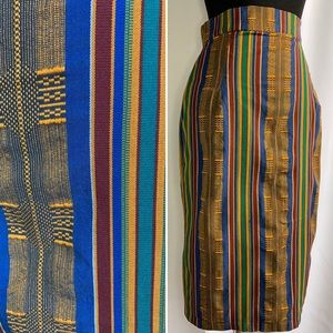 Vintage Striped Handmade Pencil Skirt